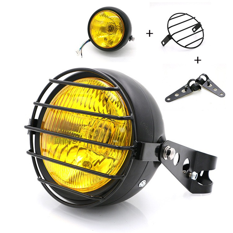 F 1016 Motorcycle accessories headlight net cover GN125 retro black shell round headlights CG125 refit retro headlights
