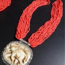 TNL548 непальский инкрустированный резной слон подвески Ожерелье Коралловый Племенной моды Тибетский ювелирные изделия