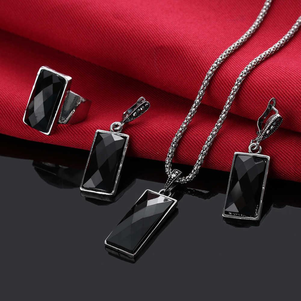 1 סט אופנה ריינסטון שרשרת עגילי צמיד טבעת סט קריסטל נשים חתונת תכשיטי סט