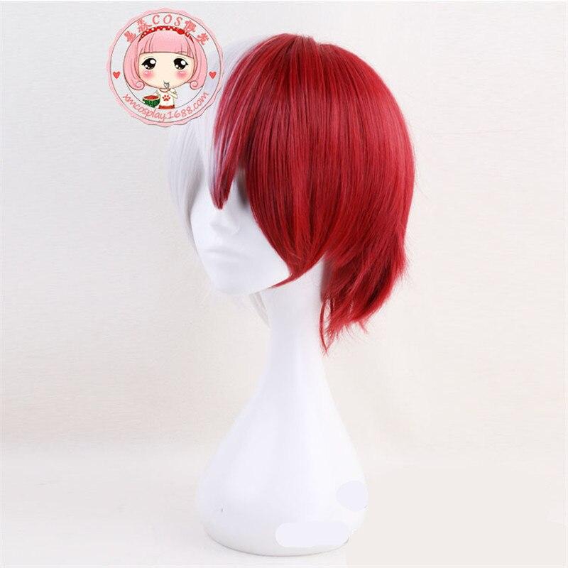 BOOCRE Anime My Hero Academia Cosplay Todoroki Shoto Cosplay Wig Costumes Accessories Headwear Length 35CM Silver Gray Dark Red