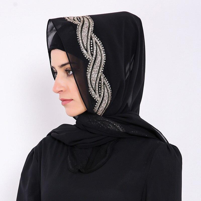 80 170cm malaysia women muslim chiffon hijab scarf with diamonds femme musulman glitter headscarf islamic hijab shawls wraps in Islamic Clothing from Novelty Special Use