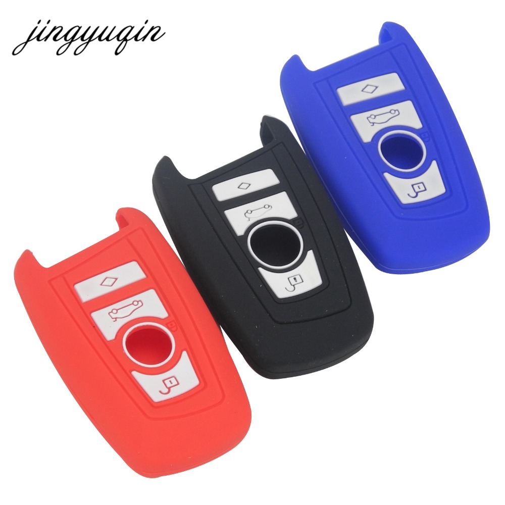Jingyuqin Silicone Key Fob Cover Case Wallet For BMW M1 M2 M3 F05 F10 F20 F30 335 328 535 650 740 Remote Holder Protec