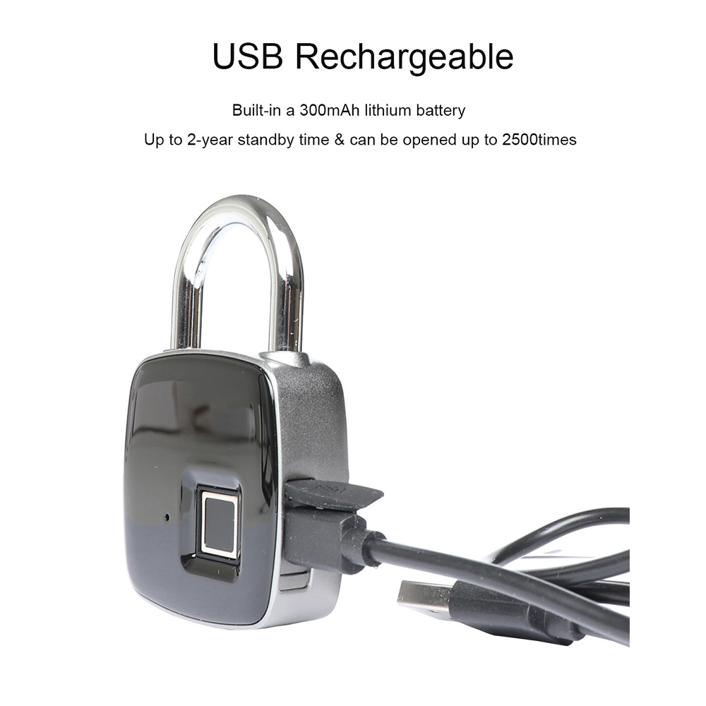 Image 5 - Smart Keyless Fingerprint lock Biometric Waterproof Lock with Finger Print Security Touch Keyless Lock USB charge for Gym Locker-in Electric Lock from Security & Protection