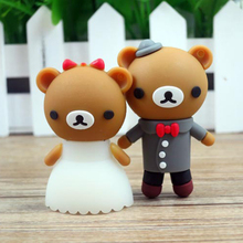 Wedding Gift cartoon bear pendrive bride groom pen drive 4gb 8gb 16gb 32gb 64gb usb flash drive real capacity memory stick