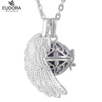 FH238 Eudora Harmony Ball Chime Pregnant Pendant Gunmetal Angel Wing Rose Cage Mexican Bola Necklace