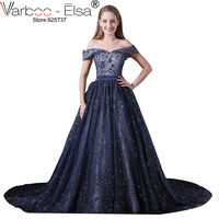 VARBOO_ELSA 2018 Custom Made New Arrival Navy Blue Sparkling cap sleeves Ball Gown Amazing Vintage Arabic Evening Prom Dresses