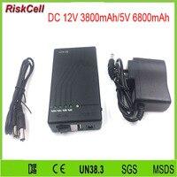 300 sztuk/partia hurtownie Super Mini YSN-N12V 12 V 3800 mAh/5 V 6800 mAh czarny baterii lipo dla CCTV kamera