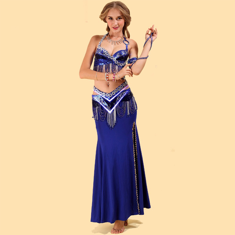 2018 New Arrival Suit Belly Dancing Clothes 2 piece (BH och midja tätning) Belly Dance Costume Set Red / Rose / Sapphire / Gold Dance Wear