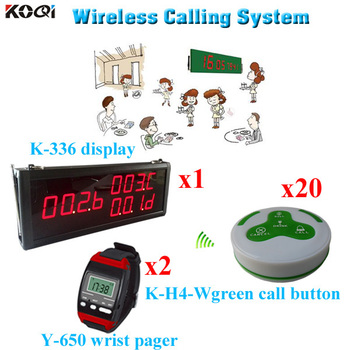 Paging System Long Range High Quantity Wireless Electronic Voting Pager (1pcs display 2pcs wrist watch 20pcs call button