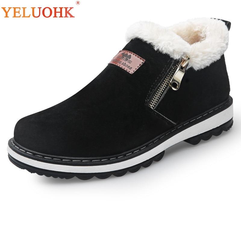 39-44 Winter Schuhe Männer Plüsch Warme Männer Stiefel Schwarz Braun Gummi Anti schleudern Winter Stiefel Männer