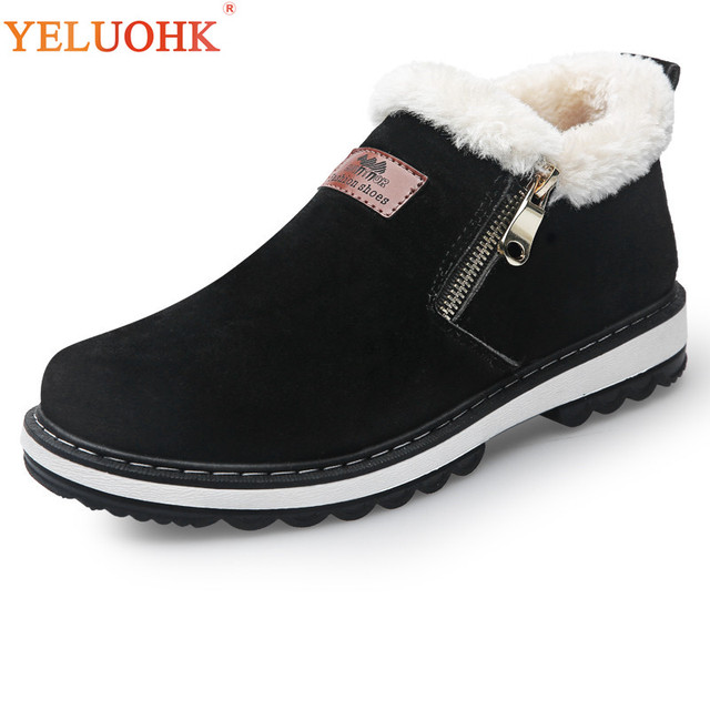 39-44 Winter Shoes Men Plush Warm Men Boots Black Brown Rubber Anti skidding Winter Boots Men