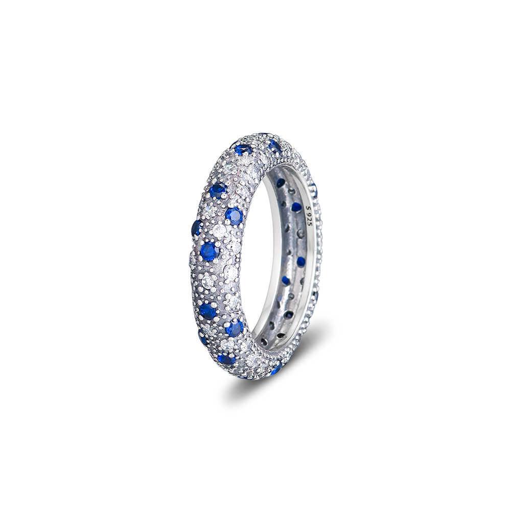 ใช้งานร่วมกับยุโรปเครื่องประดับ midnight blue คริสตัลแหวนเงินแหวนเดิมแท้ 925 เงินสเตอร์ลิงแหวนเงินผู้หญิง