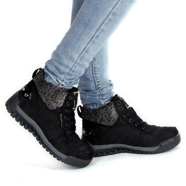 Men and Women Winter Snow Boots Lace-up and Cashmere Cotton Boots Outdoor Warm Shoes