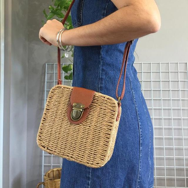 bolso de paja de Color caramelo tejido a mano para mujer, bolso de hombro pequeño para mujer, bonito bolso de playa bohemio, bolso cruzado, bolso de viaje bolso