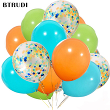 BTRUDI 20pcs 12 Inch Orange Light Blue Fruit Green Latex Balloons with Confetti Balloon Baby Shower Birthday Party Decorations