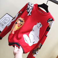 truien winter 2019 Cartoon cat jacquard women pullover casual round neck knitted christmas sweater loose crop top sweater