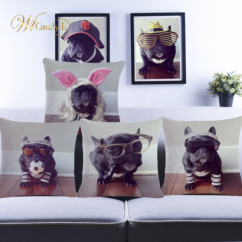 WL Candy L Cushion Covers Cute Pet Pug Dog Printing Animal