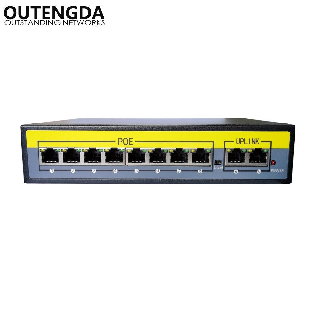 2 + 8 Ports 100 Mbps PoE commutateur adaptateur alimentation sur Ethernet IEEE 802.3af/at pour caméras AP VoIP puissance intégrée 120 W commutateur injecteur