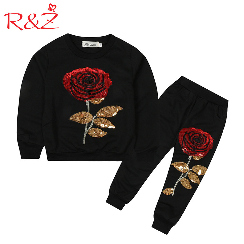R Z Baby Boys Clothing Set 2017 Autumn Long Sleeve Cotton Sequins Rose T shirt Casual
