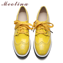 Meotina Women Shoes Flat Platform Shoes Oxfords Brogue Flats Shoes Patent Leather Cutout Lace Up Shoes Luxury Brand Yellow 34-39