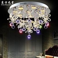 crystal chandelier light crystal led lamp butterfly petals flower for living room dining room hanging lamp