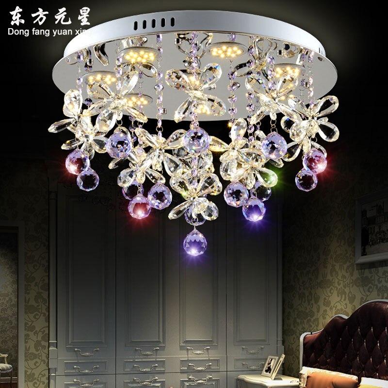 Lampadario di cristallo luce di cristallo ha condotto la lampada farfalla petali di fiori per soggiorno sala da pranzo lampada a sospensione