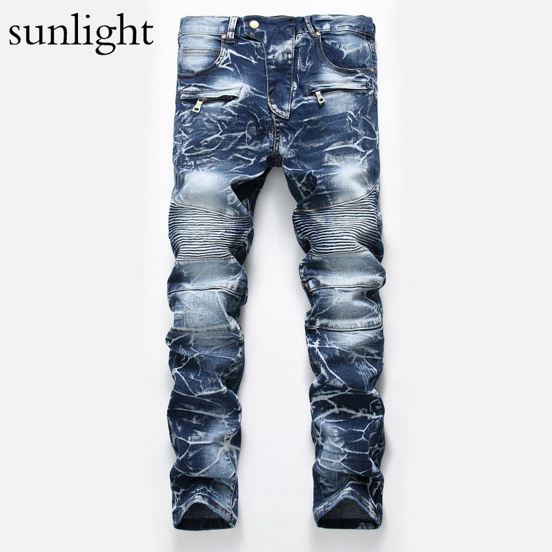 sunlight 2017 Men Jeans Ripped Biker Hole Denim robin patch Harem Straight punk rock jeans for men Pants size 28-38