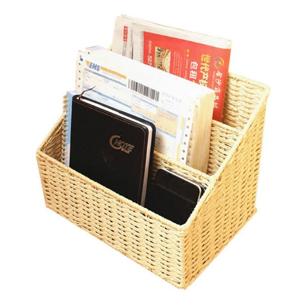 Eco-friendly braid magazine storage basket desktop books organizer file folder sundries storage bins home storage & organization все цены