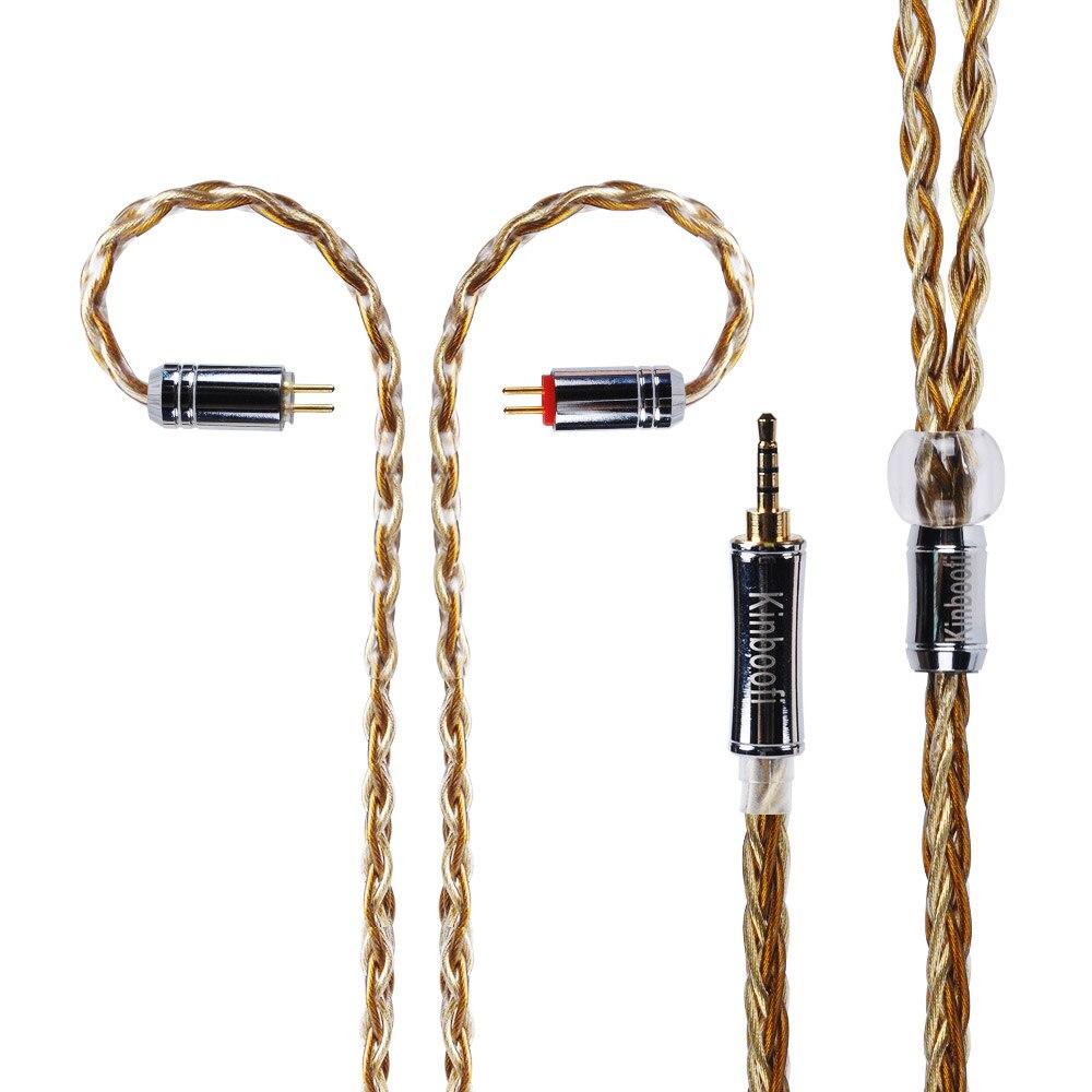 Kinboofi 8 Core один Кристалл Посеребренная Медь кабель 2,5/3,5/4,4 мм балансный кабель с MMCX/2pin разъем для KZ ZS10 LZ