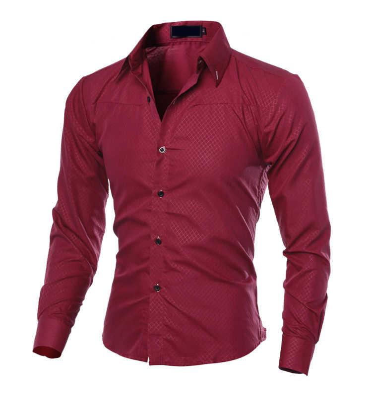2018 neue Männer der Herbst Kariertes Hemd Langarm Slim Fit Casual Shirts Schwarz Blau Männer Business Hemd Tops Plus größe 5XL