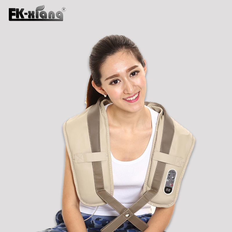 FK-Xiang Neck Massager Portable Electric Knocks Cervical Massage Shawls Pain Neck and Shoulder Tapping Massager Belt rechargeable 4 mode neck shoulder massager w music pink