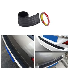 купить H2CNC Car Black Rear Bumper Trunk Edge Sill Protector Plate Rubber Cover Guard Trim Pad With Double Side Adhesive Tape Universal онлайн