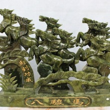 """Украшения дома ремесел 1"""" Китайский зеленый нефрит Бег успешной Детская безопасность 8 лошадей Лошади животных статуя подарок"""