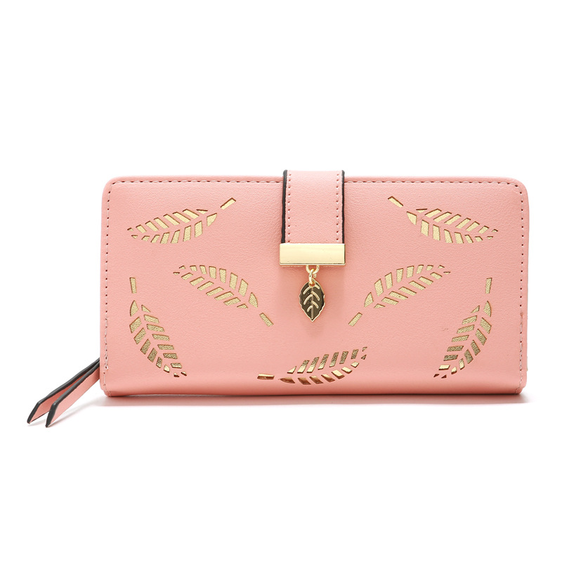 The New Fashion Korean Version Hollow Leaf Flower Wallet Lady Long Wallet Zipper Mobile bag Bag Coin Purse Card Holder Wallets in Wallets from Luggage Bags