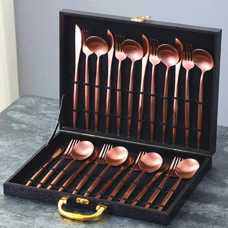 KuBac 24 Pieces Gold Dinnerware Set 18 10 Stainless Steel Dinner Knife Fork Black Cutlery Set