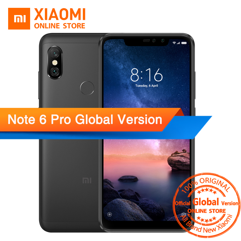 Global Version Xiaomi Redmi Note 6 Pro 4GB 64GB Snapdragon 636 Octa Core 6.26 Notch Full Screen 4000mAh Fingerprint Smartphone writing