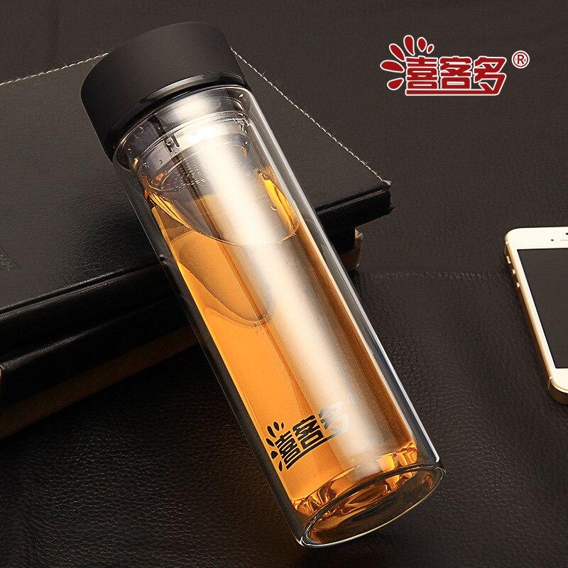 320CC resistente al Calor Doble Botella de Agua de Cristal Deporte Creativo Tete