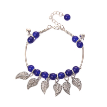 Blue Beads Bells Silver Leaf Leaves Anklet For Women Girl Bohemia Anklet Vintage Sexy Foot Jewelry Gift