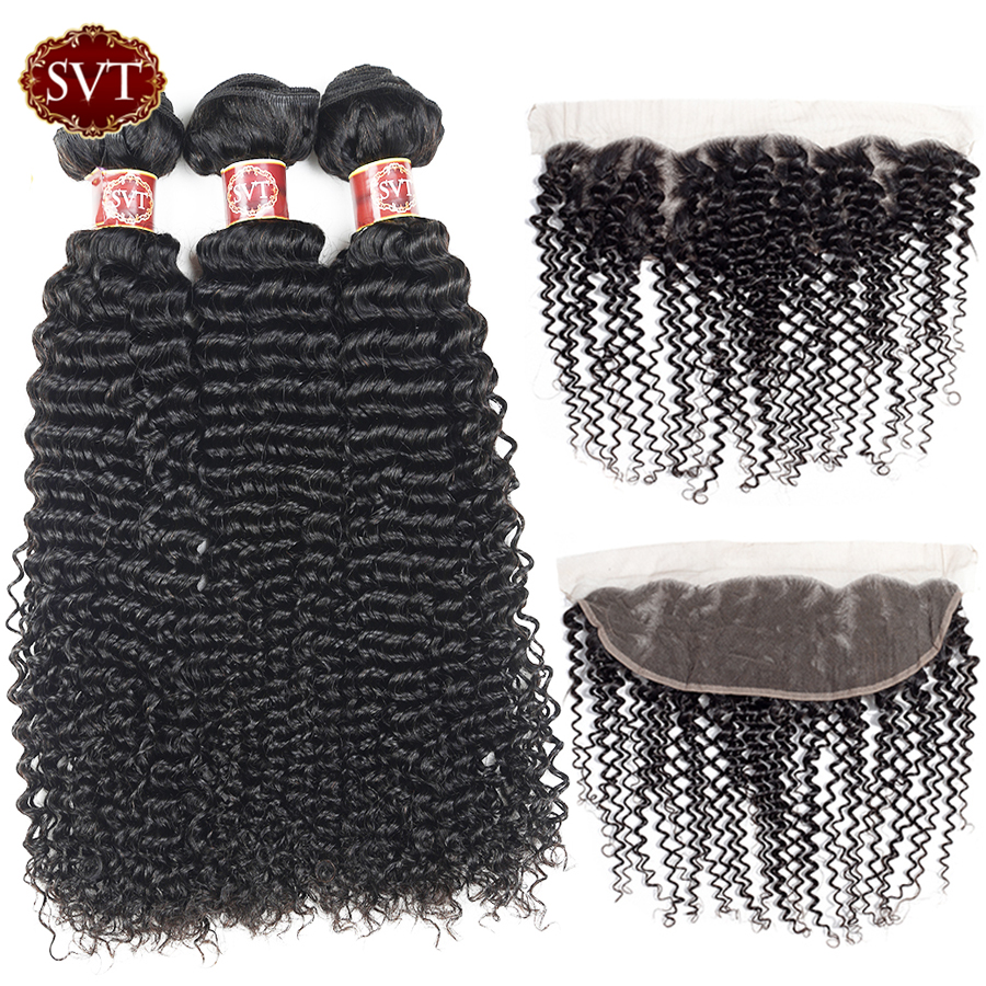 SVT Indian Curly Hair Bundles With Frontal Non Remy Human Hair Weave 4x13 Pre Plucked Frontal