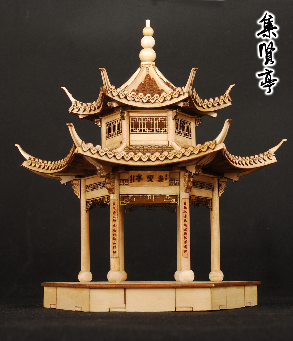 Free shipping wooden assembly model kit chinese ancient building model jiangnan xihu jixian pavilion