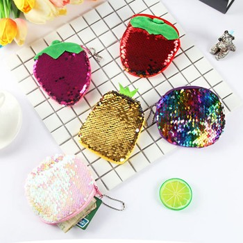 Sequin Color Change Portable Purse Coin Key Bag Student Graduation Gift Home Earphone Cable Storage Organization