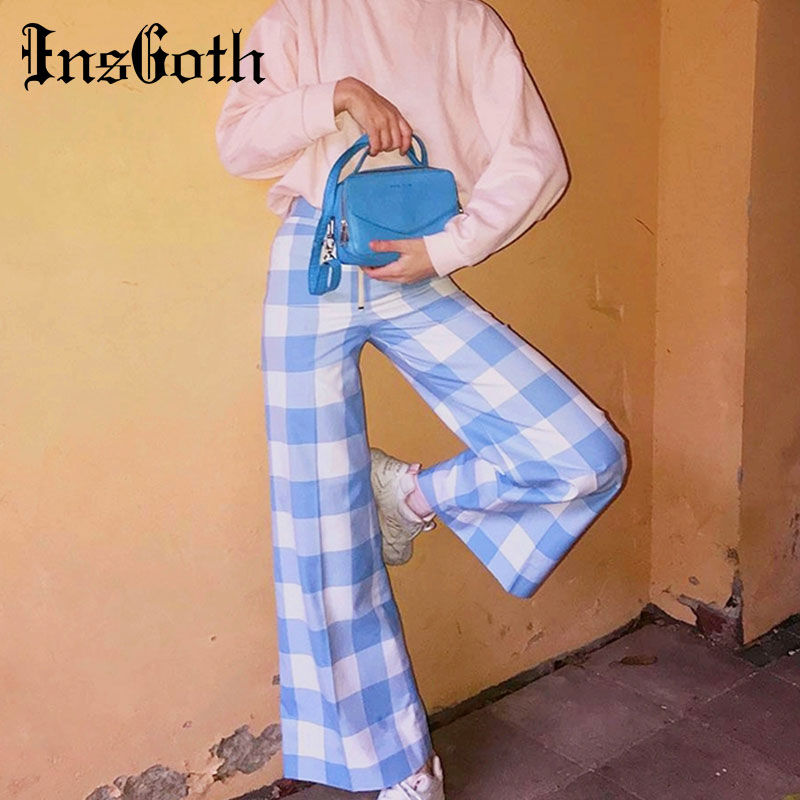 InsGoth Women Plaid   Wide     Leg     Pants   Casual Red Blue Plaid Loose Female Long Trousers Autumn High Waist Streetwear Harajuku   Pants