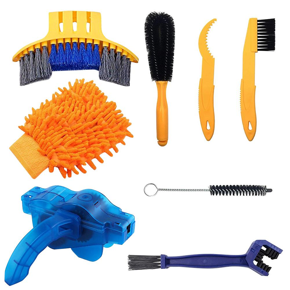 8-Piece Bicycle Cleaning Kit Precise Bicycle Cleaning Brush Tool Bike Chain Scrubber Mountain Road City Folding Bike Accessories