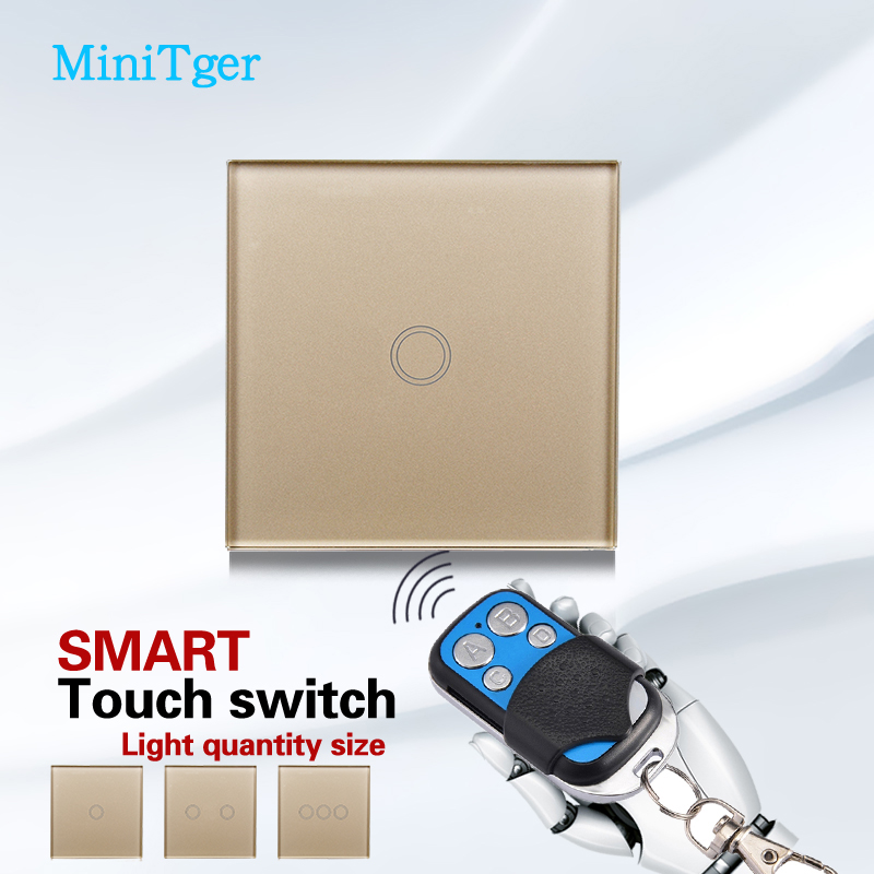 Free Shipping,MiniTiger EU Standard Touch Switch 1/2/3 Gang 1 Way,Crystal Glass Switch Panel,Wall Light Touch Screen Switch ewelink eu uk standard 1 gang 1 way touch switch rf433 wall switch wireless remote control light switch for smart home backlight
