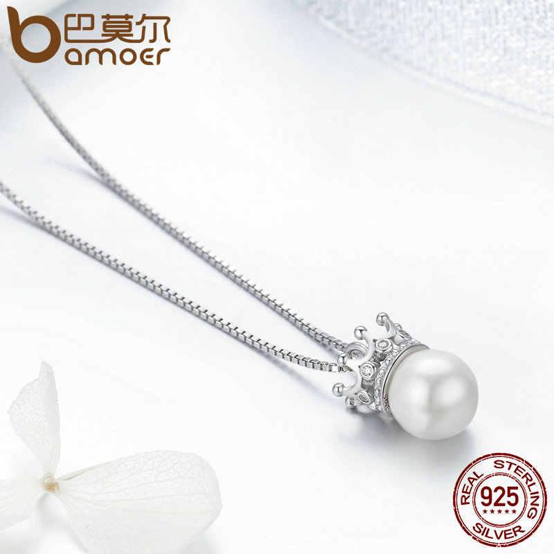 BAMOER 100% 925 srebro elegancka korona królowej wyczyść CZ wisiorek naszyjniki kobiety luksusowe srebro biżuteria SCN177