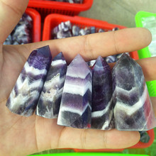 4-6cm natural striped amethyst stone wand quartz crystal wand magnetic energy point healing stone X23 natural amethyst stone beads purple quartz crystal chips orgonite pyramid energy healing resin figurine office home decoration