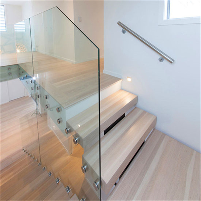 Modern Custom Glass Railing Build Floating Staircase With Wood | Glass Handrails For Stairs | Wood | Frameless | Outside | Standoff | Residential