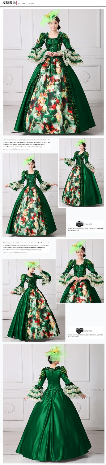 Vintage Women Renaissance Marie Antoinette Rococo Baroque Cosplay Costume Dress