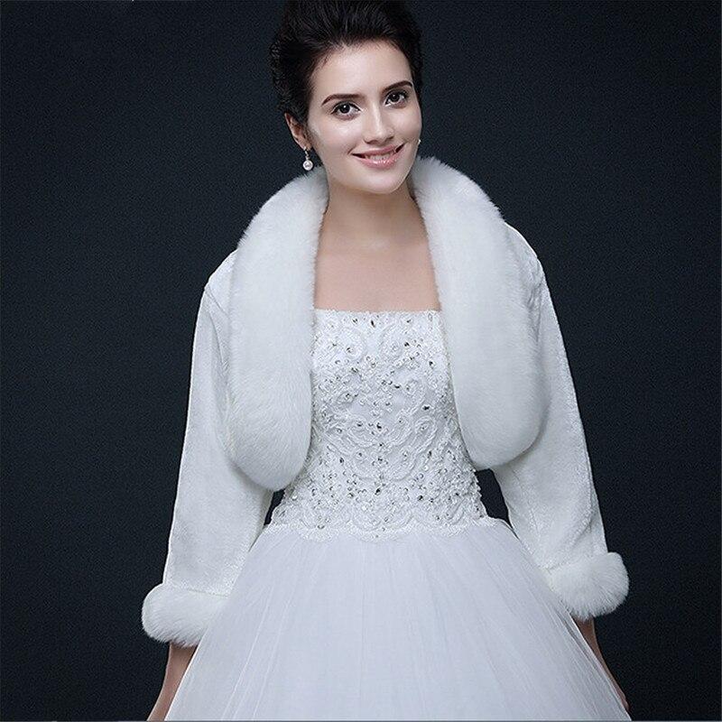 Beige Faux Fur Wrap Shrug Bolero Coat Bridal Shawl Jacket