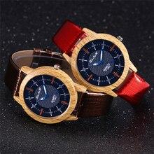 Men's Wood Watches Female Unisex Quartz Watches Wholesale Fashion PU Leather Strap Gift Wrist Watch